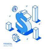 Isometrisk finansiell analys och tillväxtlinje stilbegrepp Arkivfoto