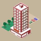 Isometrisk flervånings- byggnad Arkivbilder