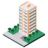 Isometrisk flervånings- byggnad med balkonger stock illustrationer