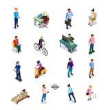 Isometrisk folksymbolsuppsättning stock illustrationer