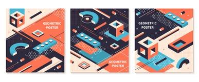 Isometrisk formaffisch 3D abstrakta geometriska broschyrer, futuristiska teknologibakgrunder Isometrisk r?kningsupps?ttning f?r v stock illustrationer