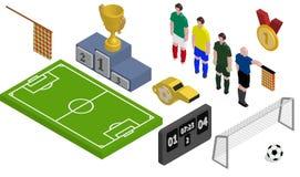 Isometrisk fotbolluppsättning arkivbild