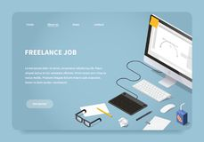 Isometrisk Freelancer Job Landing Page stock illustrationer
