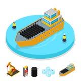 Isometrisk gas och oljeindustri Skepp med trummor Bränsleproduktion Royaltyfri Bild