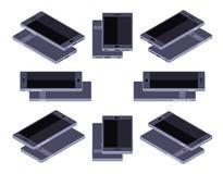 Isometrisk generisk svart smartphone Royaltyfri Fotografi