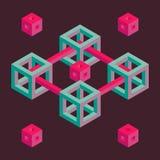 Isometrisk geometrisk form Arkivfoto