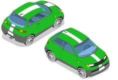 Isometrisk grön bil Fotografering för Bildbyråer