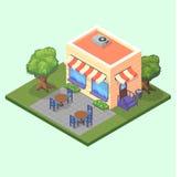 Isometrisk gullig restaurangkafébyggnad med tabeller, stolar och illustrationen för träd 3D Arkivfoton