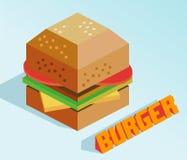 Isometrisk hamburgare Royaltyfri Bild