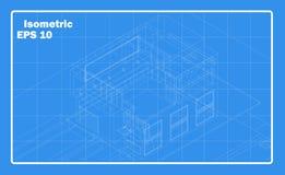 Isometrisk husöversikt Schematisk byggnad vektor illustrationer