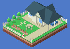 Isometrisk hus- och trädgårdgård Royaltyfri Bild