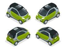 Isometrisk hybrid- bil Stadsbil som isoleras på vit bakgrund Smart bil för vektoröverenskommelse Isolerade medel vektor illustrationer