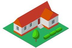 Isometrisk illustration av det enkla privata huset Arkivbilder