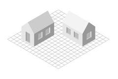 Isometrisk illustration av det enkla privata huset Arkivfoton
