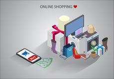 Isometrisk illustration av online-shoppingbegreppet royaltyfri illustrationer
