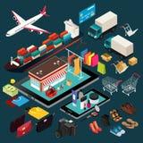 Isometrisk illustration av shopping och sändnings Fotografering för Bildbyråer