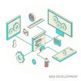 Isometrisk illustration av websiteanalytics Arkivfoto