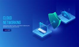 isometrisk illustration 3D av säkerhetsskölden mellan PC:n och clouen Stock Illustrationer