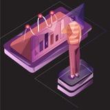 isometrisk illustration för affärsidérengöringsdukvektor Affärsmän som står på en grafisk minnestavla för paj royaltyfri illustrationer
