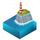 Isometrisk illustration för fyrvektor Strålkastaren står högt för maritim navigations- vägledning Fotografering för Bildbyråer