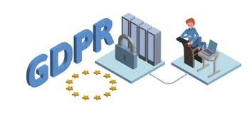 Isometrisk illustration för GDPR-begrepp Reglering för skydd för allmänna data Skydd av personliga data Vektor som isoleras Royaltyfri Fotografi