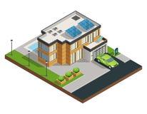 Isometrisk illustration för grönt Eco hus vektor illustrationer