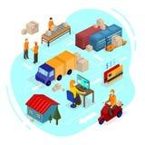 Isometrisk illustration för logistik Isometrisk information om vektorleverans stock illustrationer