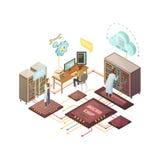 Isometrisk illustration för serverrum vektor illustrationer