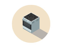 Isometrisk illustration för vektor av den elektriska spisen, ugn, kökutrustning Arkivfoton