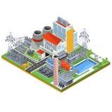 Isometrisk illustration för vektor av en elektrisk energi för kärnkraftverk för tillverkning av vektor illustrationer