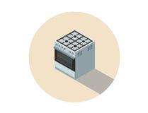 Isometrisk illustration för vektor av gasspisen, ugn, kökutrustning Royaltyfri Bild