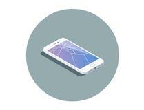 Isometrisk illustration för vektor av smartphonen med den brutna skärmen Royaltyfria Bilder
