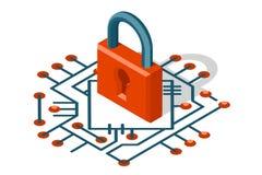 Isometrisk illustration för vektor för symbol för skydd 3d för cyber för internet för rengöringsduksäkerhetsteknologi digital Arkivfoto