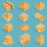 Isometrisk illustration för flyttningaskvektor Arkivbilder
