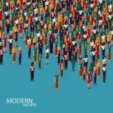 Isometrisk illustration för vektor 3d av samhälle med en folkmassa av män och kvinnor befolkning stads- livsstilbegrepp Royaltyfri Fotografi