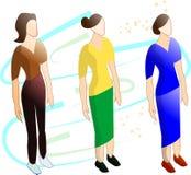 Isometrisk illustration med kvinnor i ljusa dräkter royaltyfri illustrationer