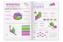 Isometrisk infographic tidskriftsremsa royaltyfri illustrationer