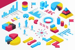 Isometrisk infographics presentation isolerat Uppsättning statistik också vektor för coreldrawillustration vektor illustrationer