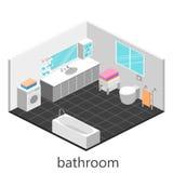 Isometrisk inre av badrummet Royaltyfri Foto