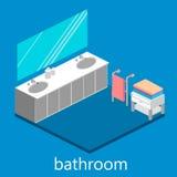 Isometrisk inre av badrummet Arkivbilder