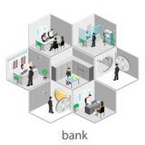 Isometrisk inre av banken Arkivfoto