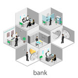 Isometrisk inre av banken vektor illustrationer