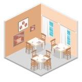 Isometrisk inre av coffee shop kafé eller restaurang för plan isometrisk design 3D inre Royaltyfria Bilder