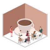 Isometrisk inre av coffee shop kafé eller restaurang för plan isometrisk design 3D inre Arkivbild