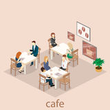 Isometrisk inre av coffee shop kafé eller restaurang för plan isometrisk design 3D inre Folket sitter på tabeller och äter Arkivfoto