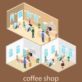 Isometrisk inre av coffee shop kafé eller restaurang för plan isometrisk design 3D inre Folket sitter på tabeller och äter Arkivbilder