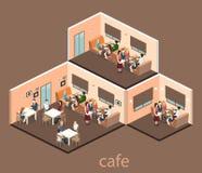 Isometrisk inre av coffee shop kafé eller restaurang för plan isometrisk design 3D inre Folket sitter på tabeller och äter Arkivbild