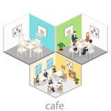 Isometrisk inre av coffee shop kafé eller restaurang för plan isometrisk design 3D inre Folket sitter på tabeller och äter Royaltyfria Foton