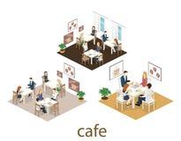Isometrisk inre av coffee shop kafé eller restaurang för plan isometrisk design 3D inre Folket sitter på tabeller och äter Arkivfoton