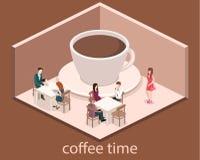 Isometrisk inre av coffee shop kafé eller restaurang för plan isometrisk design 3D inre Folket sitter på tabeller och äter Royaltyfri Foto